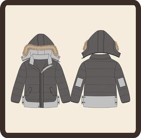 男装男童冬季带帽棉衣