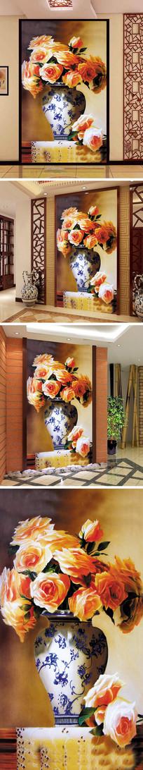 欧式油画花瓶玫瑰玄关背景墙