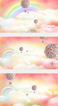 热气球浪漫爱情婚礼背景视频