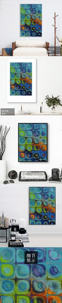 新中式创意水彩圆形装饰画
