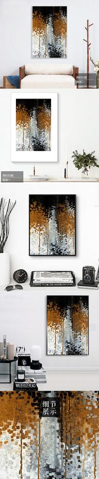 新中式山水画金色树林装饰画 TIF