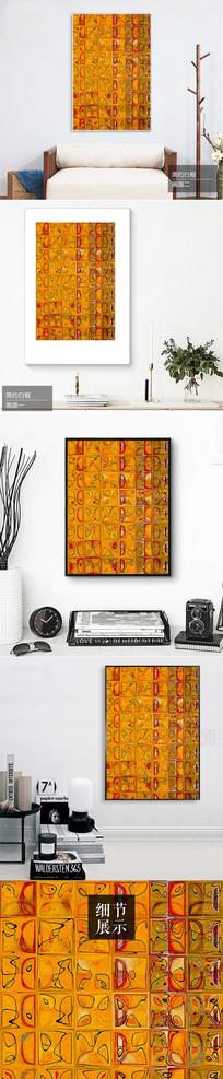 新中式手绘壁画图案装饰画