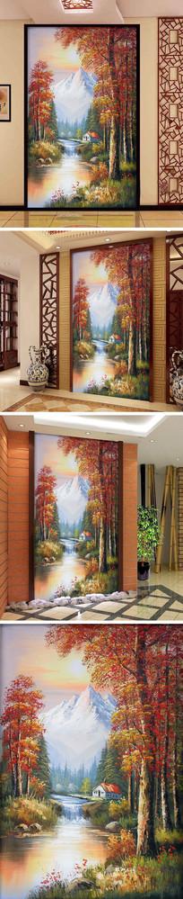 油画秋天风景画瀑布小屋玄关背景墙