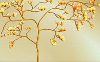 玉兰手绘花朵背景墙