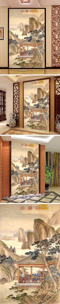 中式人物山水亭子弹琴玄关背景墙