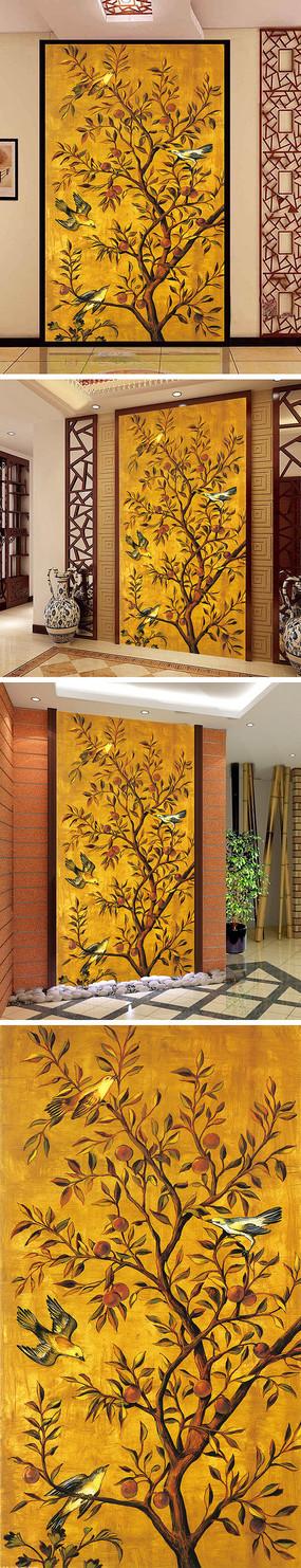 中式油画花鸟玄关背景墙