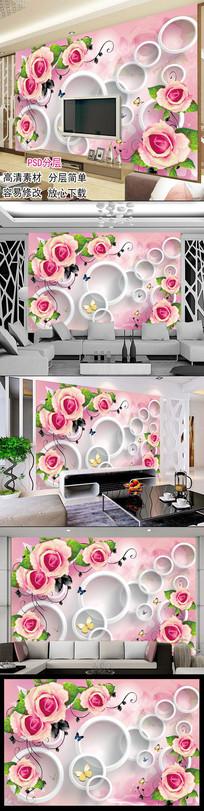 粉红3D立体玫瑰花客厅电视背景墙图片