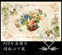 复古欧式油画花卉背景墙(非高清)