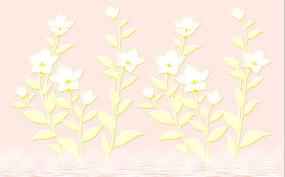 精美手绘花朵背景墙装饰画