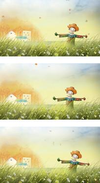 六一儿童节卡通梦幻稻草人矗立田野视频