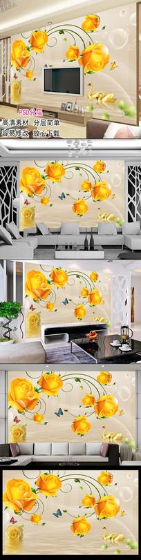 玫瑰花倒影客厅电视背景墙图片