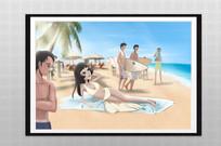 清新阳光沙滩性感美女插画