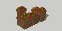 编织花纹木质花箱组合