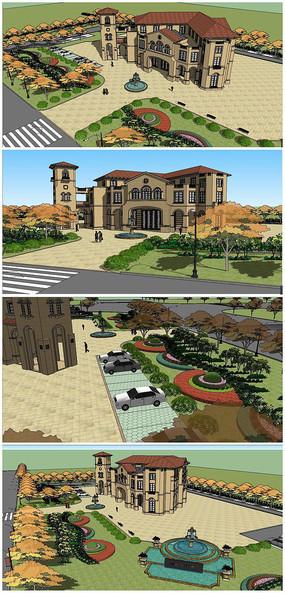 地中海风格会所及楼前景观SU模型