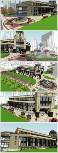 法式风格会所及楼前广场景观SU模型(精模)