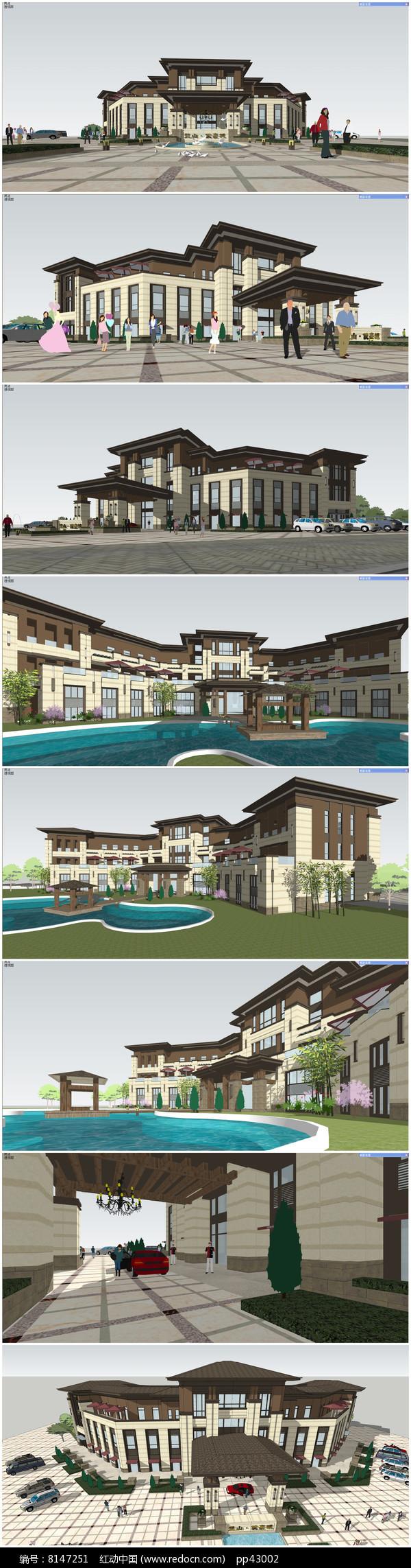 法式风格售楼部SU模型含楼前景观铺装(精模)图片