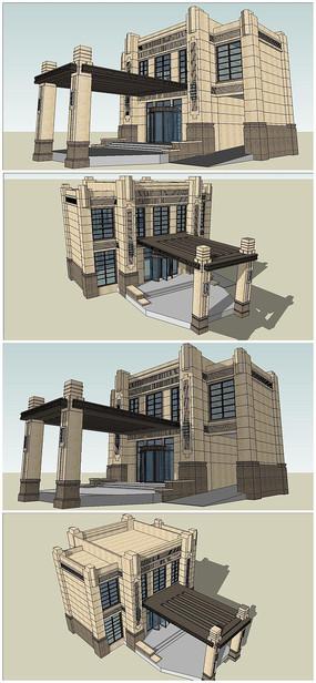 法式古典风格售楼中心SU模型