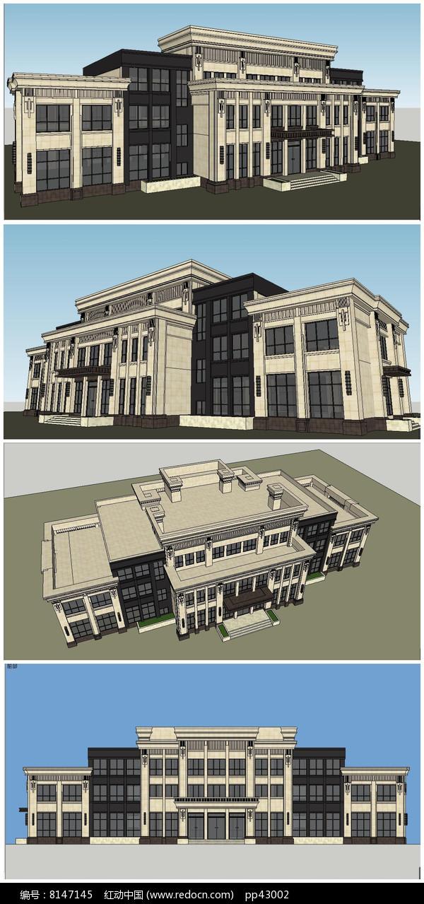 法式会所建筑SU模型图片