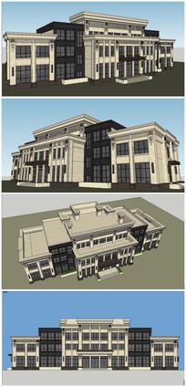 法式会所建筑SU模型