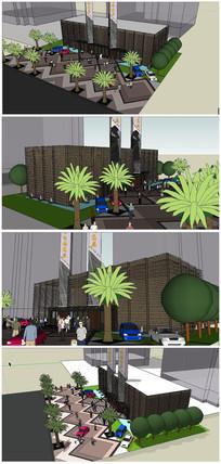 河北廊坊某现代风格售楼处商务会所建筑SU模型