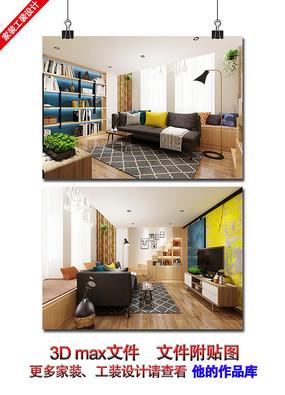 简约室内客厅3D效果图