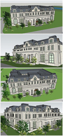 精致典雅古典法式风格售楼处会所建筑SU模型
