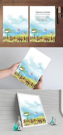 蓝天草地花园信纸