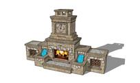 流水花纹欧式壁炉