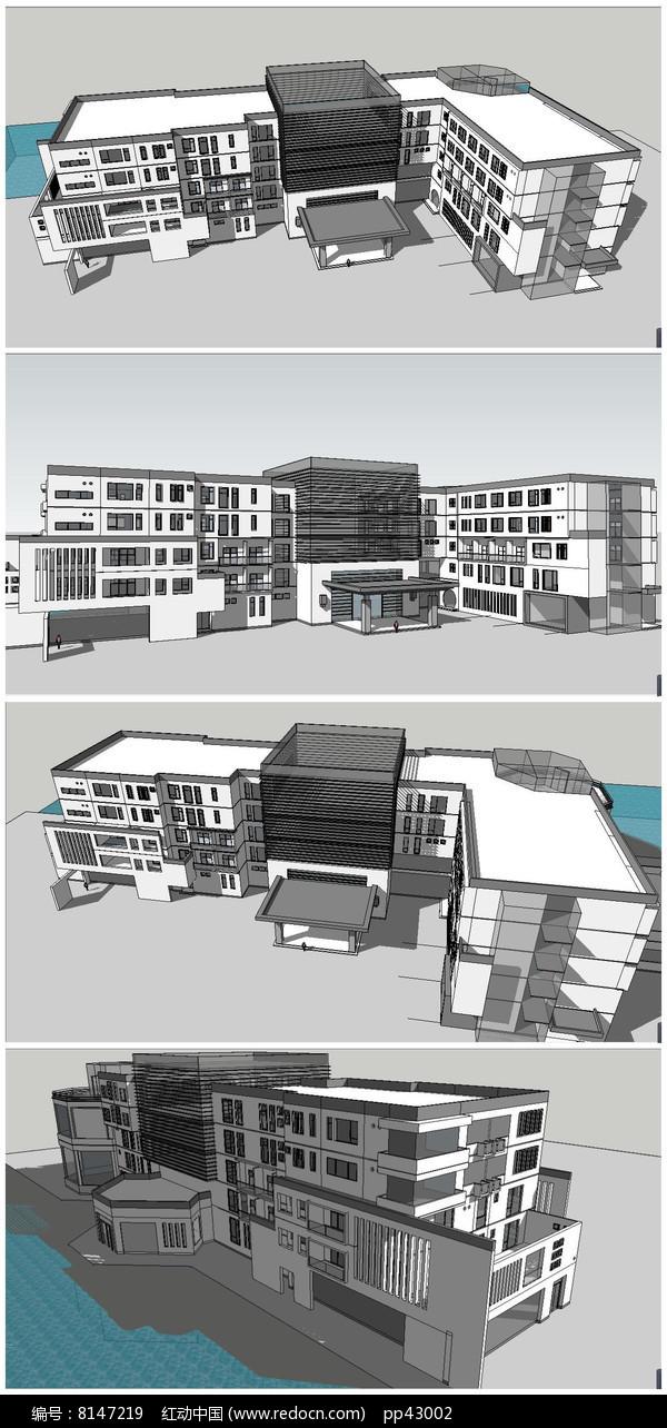 某商业中心接待站宾馆建筑SU模型图片