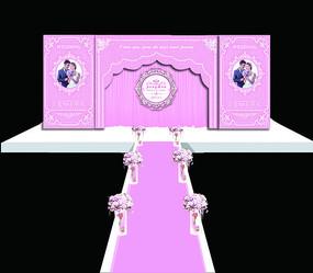欧式粉色婚礼舞台背景 PSD