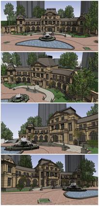 欧式古典风格会所含楼前景观SU模型