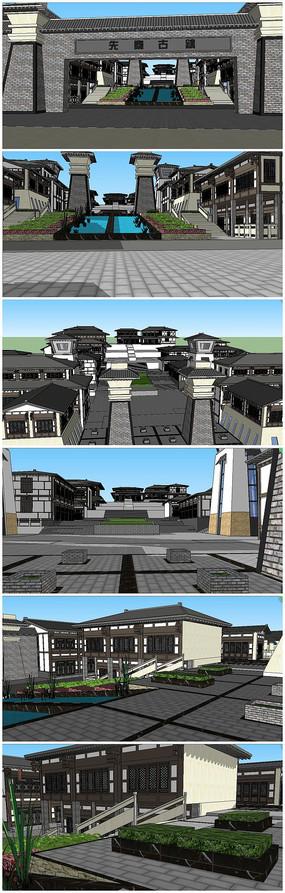 秦汉风格古镇商业旅游住宅SU模型