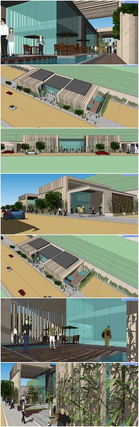 售楼部会所SU模型及室内及周边环境景观模型
