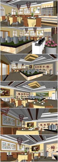售楼中心内部室内设计平面布置图SU模型