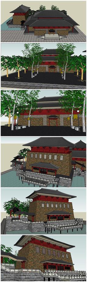 唐朝古建筑古城恢复景观SU模型