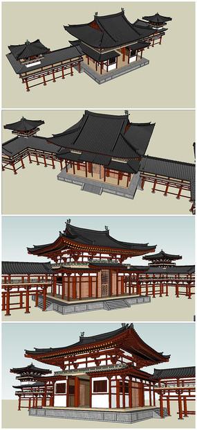 唐代风格古建筑SU模型