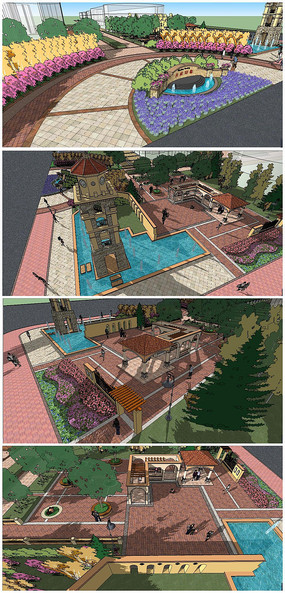 天成印象小区地中海风格售楼中心建筑及景观SU模型
