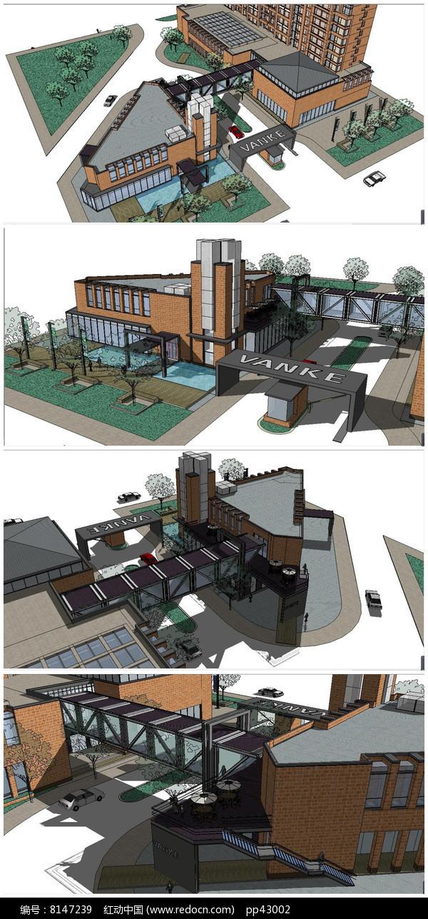 现代工业风格会所创意产业园SU模型图片
