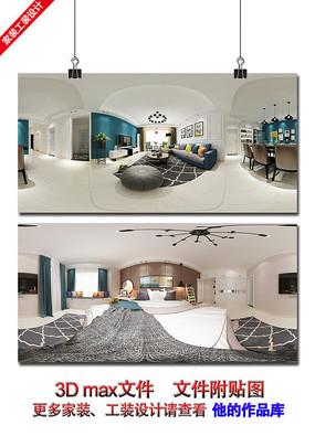 现代欧式简约室内设计3D效果图
