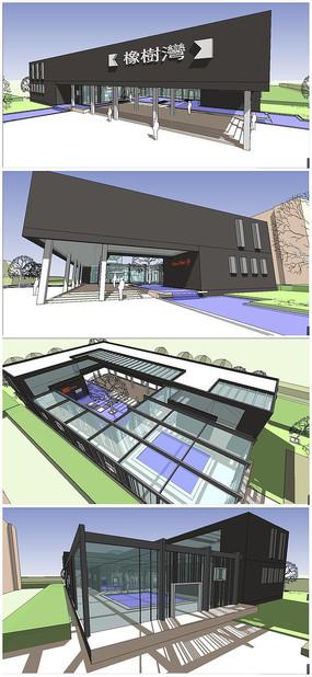 橡树湾小区现代时尚风格售楼中心SU模型