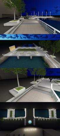 小广场商务楼前景观绿化休闲区域