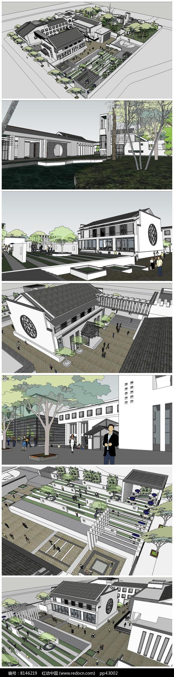 新中式独家村会所及农家乐仿古建筑SU模型图片