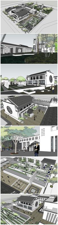 新中式独家村会所及农家乐仿古建筑SU模型