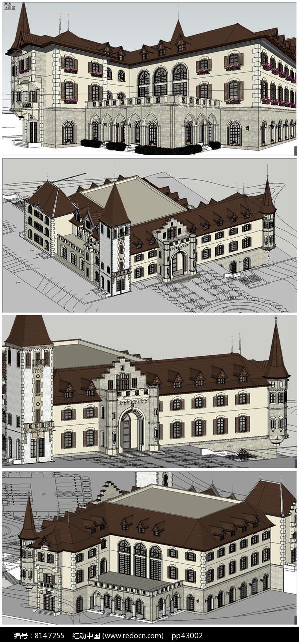 英式风格古典欧式豪华售楼部SU模型