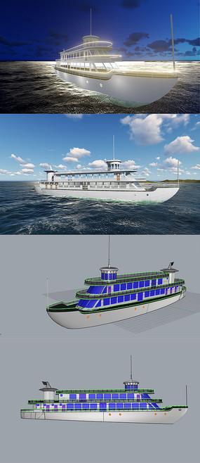 游轮船3D犀牛模型含渲染效果图