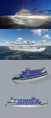 游轮船3D犀牛模型含渲染效果图 3dm