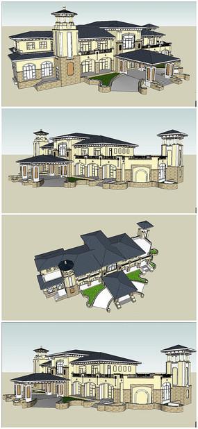 中国云南某小区法式风格会所酒店营销中心建筑SU模型