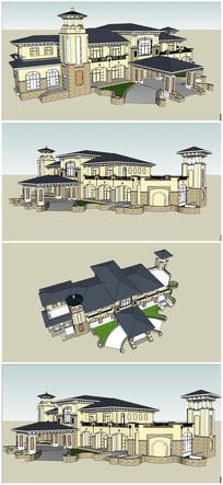 中国云南某小区法式风格会所酒店营销中心建筑SU模型 skp