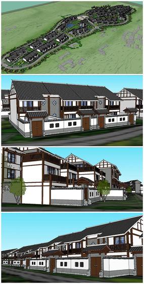 中式别墅群落度假村SU模型