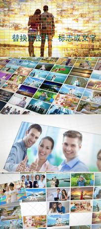 100多张摄影相片排列组合展示照片墙模板  aep